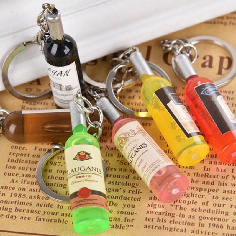 Wine Bottle Key Chains Key Rings Alloy Charms Gifts New Women/Men's Fashion Handmade Resin Keychain