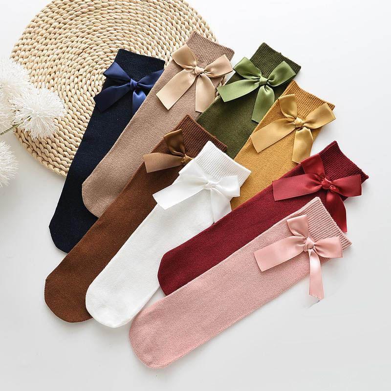 NOUVEAU 2020 Bows Girls Designer Bas Fashion Coton Filles Chaussettes Princesse Enfants Chaussettes Filles Tricoter Haute Chaussette Haute Chaussette Enfants