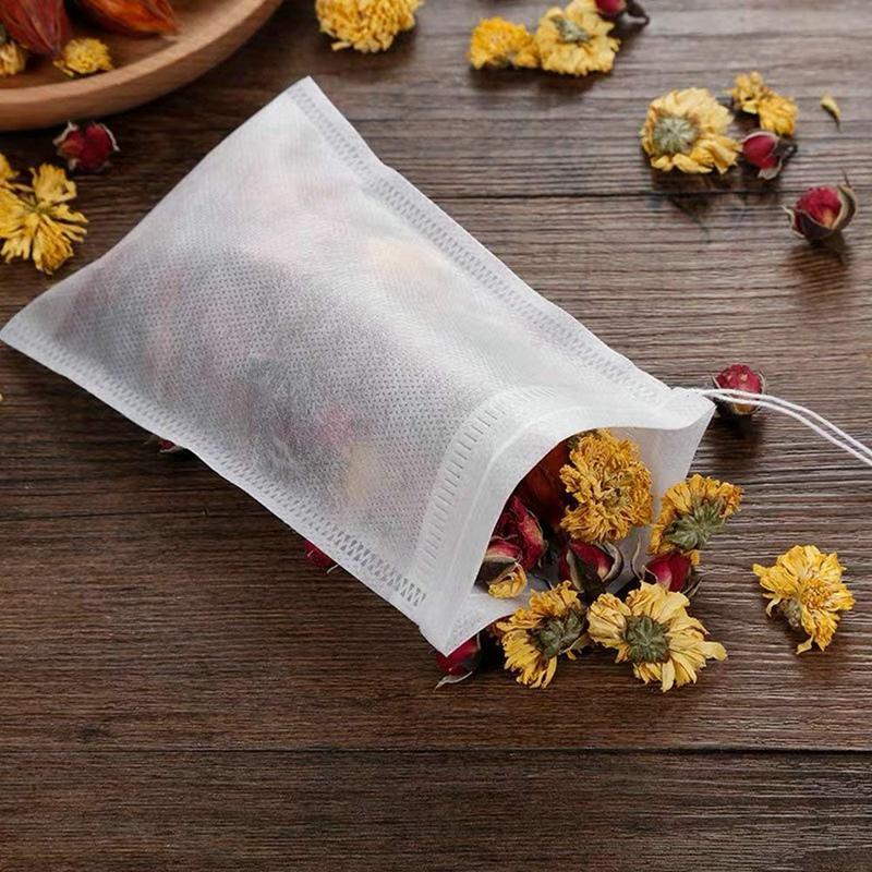 200 Paquete desechable de filtro de té bolsas de té infusores 4 pulgadas x 6 pulgadas Vacía té Filtro sello de lazo muselina de algodón