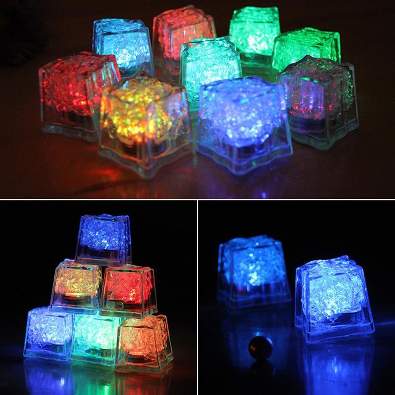 Hot New incandescência colorido Ice Wine Cubos Decoração de vidro Led Fluorescente Bloco Flashing Wedding Party Indução Ice lâmpada para Bar
