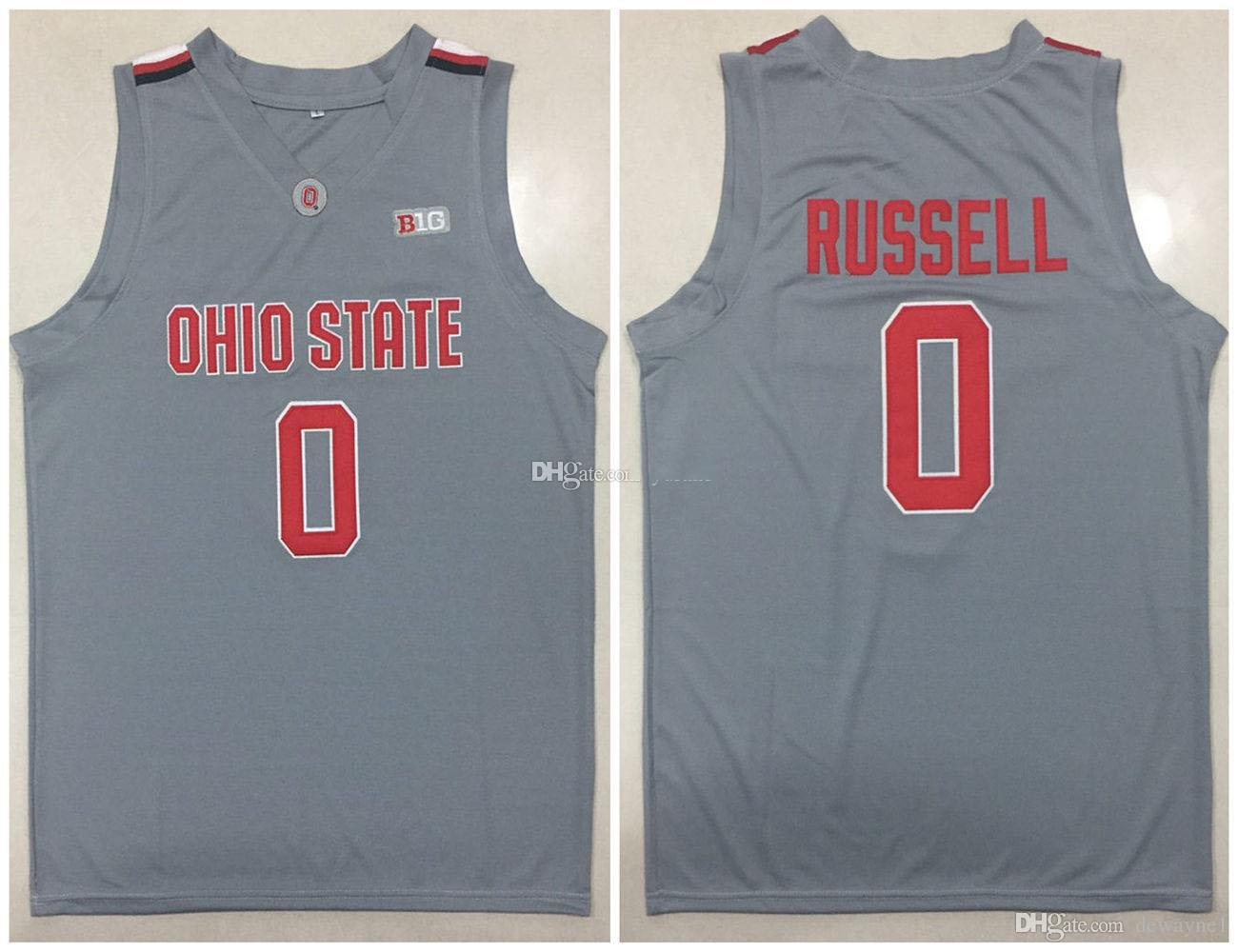 2019 0 D Angelo Russell Ohio State Buckeyes Osu College D Angelo Grey Retro Basketball Jersey Men S Stitched Custom Any Number Name Jerseys From