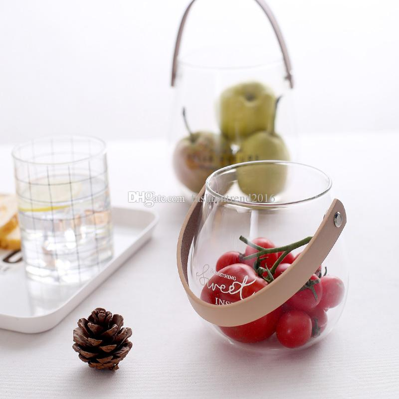 بسيطة التخزين الجرار الزجاجية الصغيرة مع الجلود مقبض مكتب تخزين زجاجة زهرة زهرية واضحة حاوية الديكورات المنزلية