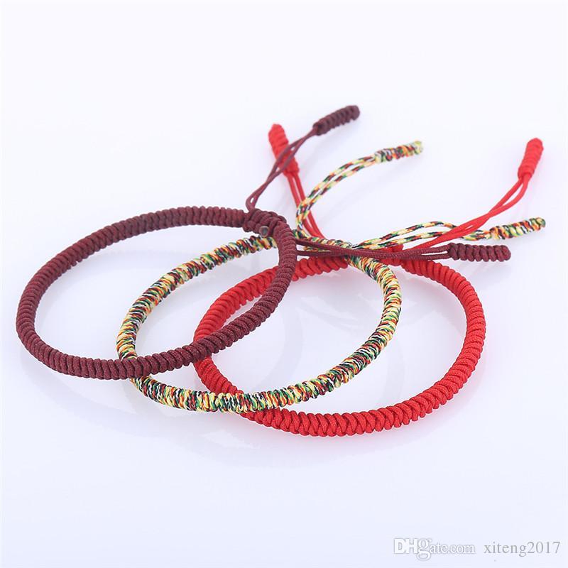 여성 남성 수제위한 새로운 멀티 컬러 티베트어 불교 팔찌 좋은 행운의 부적 티베트어 꼰 팔찌 팔찌 로프 팔찌를 매듭