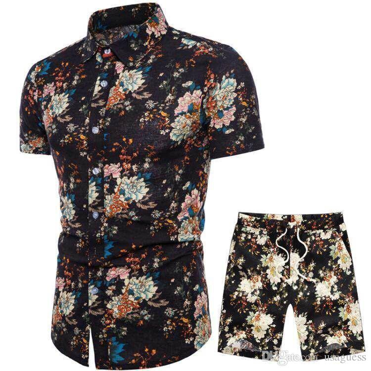 Mens-Sommer-Designer-Anzüge Strand Meer Ferien Shirts Shorts Kleidung Sets 2ST Blumendruck Tracksuits