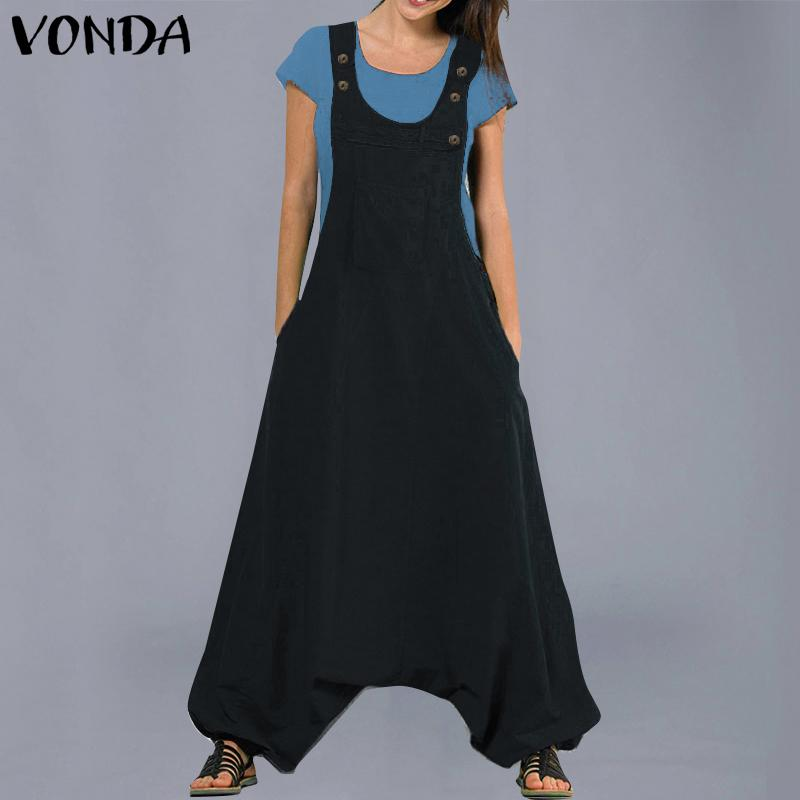 Vonda Jumpsuits Womens Rompers 2019 Fashion Casual Cotton Harem Pants Trousers Plus Size Sexy Sleevelss Long Playsuits Y19051601