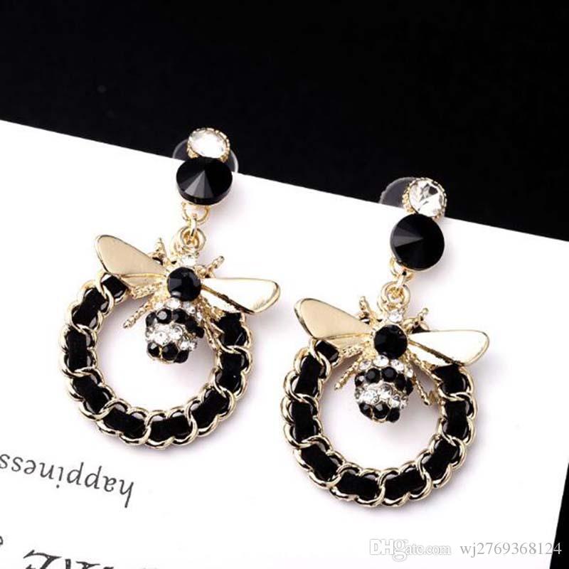 Korea Fashion Weave Cricle Dangle Drop Earrings Lovely Bee Earring 925 Silver Needle Earring Women Girl Charm Jewelry Accessories