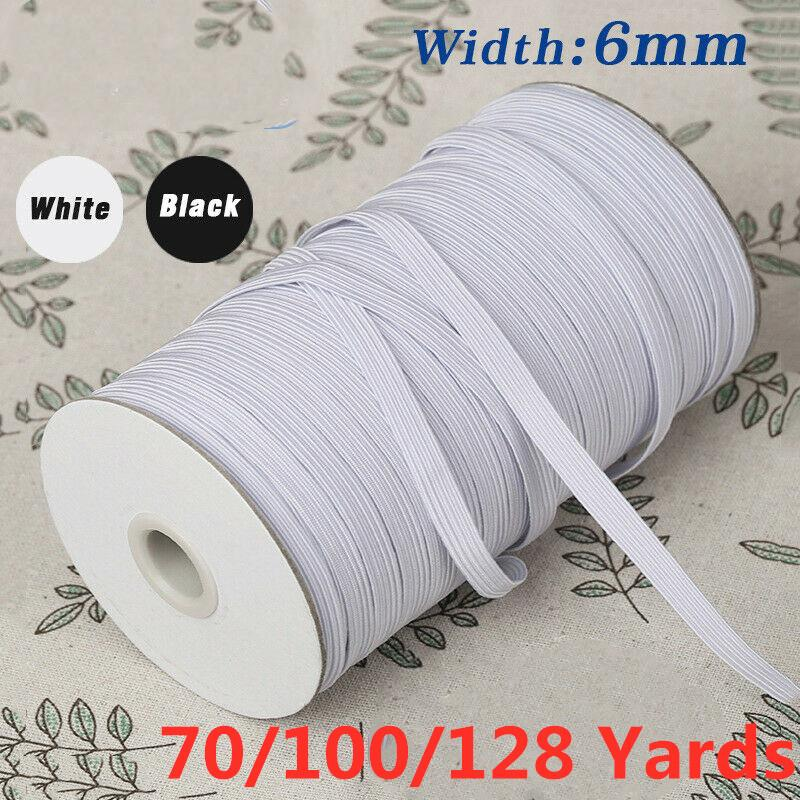 """70/100/128 Yards Flat Braided Elastic Band Tape Cord Knit Band Sewing 1/4"""" (6mm),1/8"""" (3mm) width White/Black"""