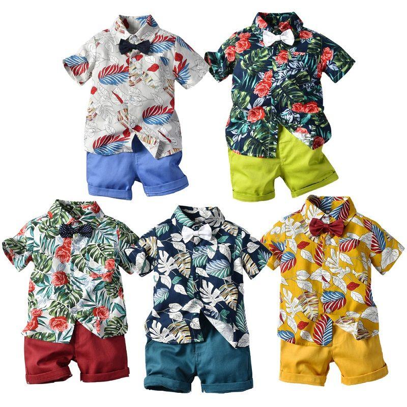 Vêtements pour garçons Floral Ensembles 5 motifs Noeud papillon noeud chemise boutonnée Stripe Shorts Pantalons solides Vêtements pour enfants Angleterre Summer Style 1-6T 04