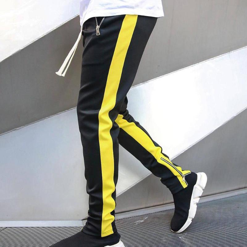 Mens Joggers Casual Pants Men Stylish Color Block Zip Pockets Drawstring Sports Skinny Pants Trousers Sweatpants Track