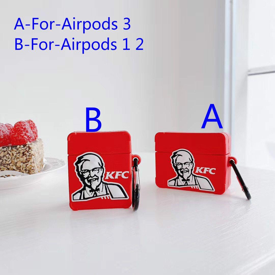 Pro 3 2 Strap KFC modello auricolare di caso per Airpods 1 AirPod Custodia in silicone Piazza Rossa di copertura con l'anello di barretta