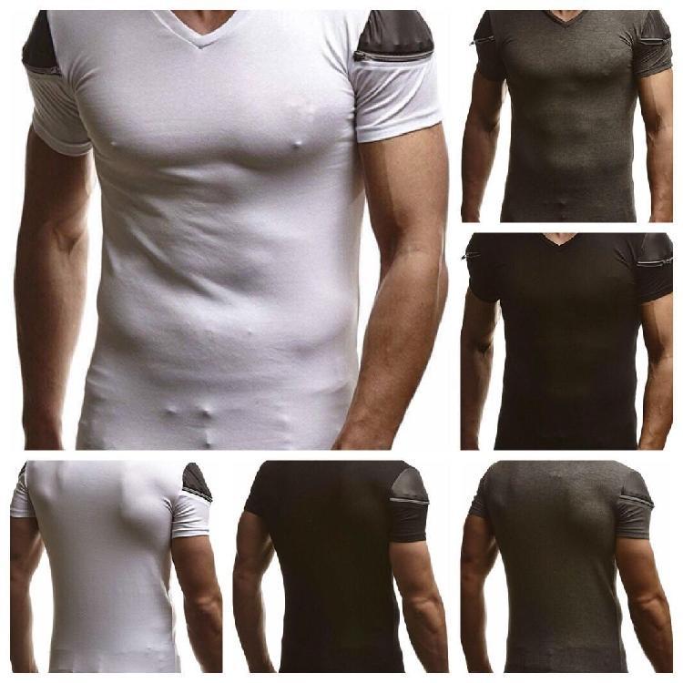 Mens-Sommer V-Ausschnitt T-Shirts beiläufige Normallack-Kurzschluss-Hülse dünne T-Shirt New Herren Designer Kleidung
