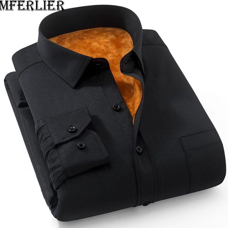 MFERLIER Outono-Inverno homens camisas tamanho 5XL 6XL 7XL 8XL 9XL Além disso manga longa Casual manter aquecido grande porte camisas homens 8 cores