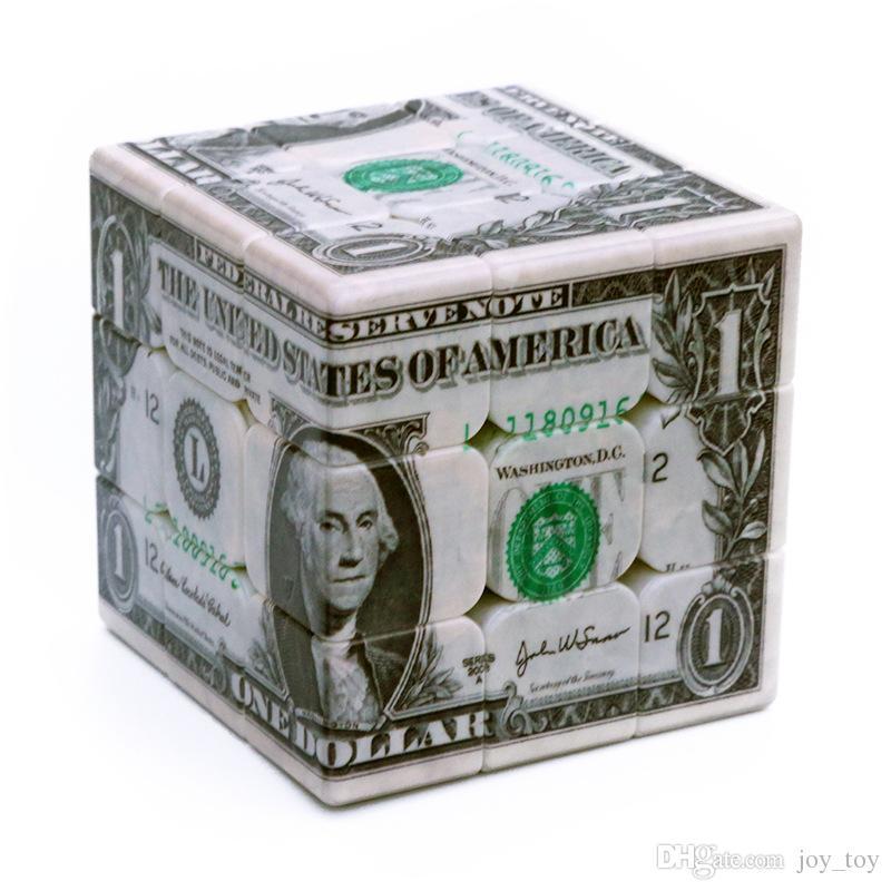 USD Dollar Speed Magic Cube UV pintado 3x3x3 ultra-suave velocidade profissional cubo cubo quebra-cabeça torção brinquedo lefun