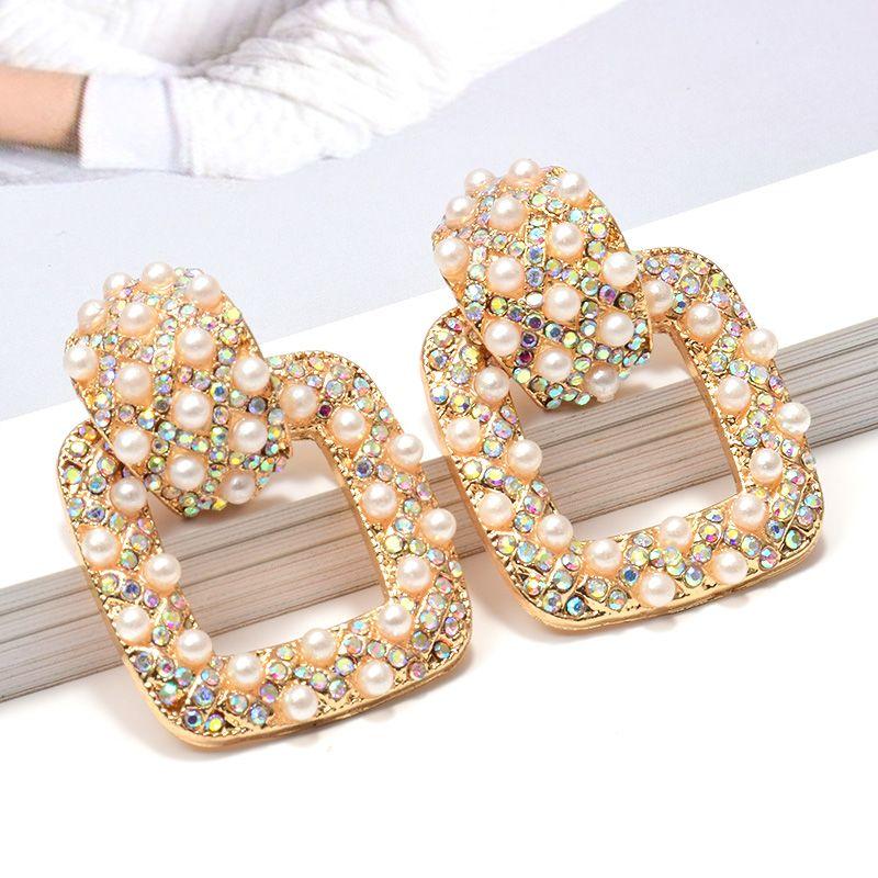 Nuevo llega el cuadrado del metal Rhinestone colorido perlas cuelga los pendientes de alta calidad Accesorios de moda al por mayor de joyería para las mujeres