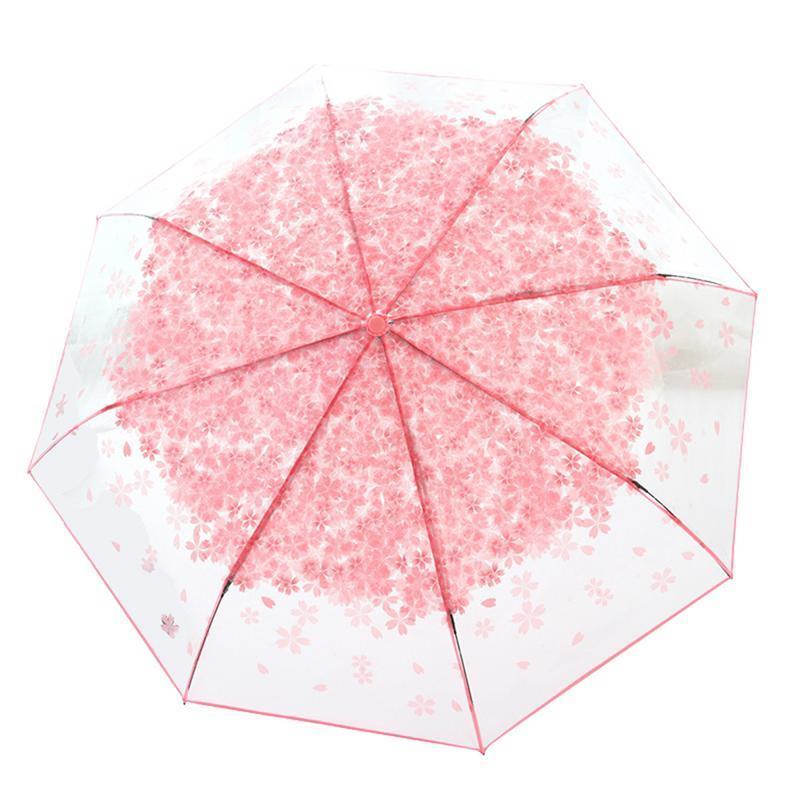 Innovadora paraguas plegable lindo patrón de flor de cereza transparente Tres paraguas plegable regalo para la familia Amigos protección contra la lluvia