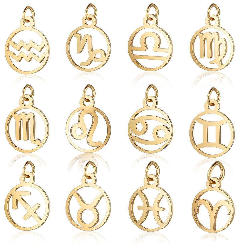 Inossidabile di alta qualità di figura rotonda 12 fascini costellazioni dello zodiaco di modo DIY Fare monili del pendente della collana del braccialetto Accessroies