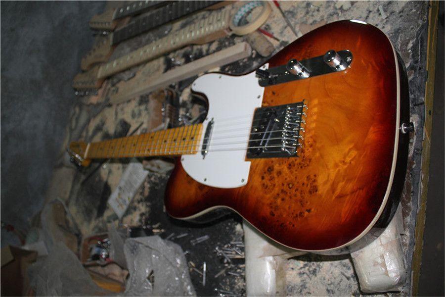 ücretsiz kargo TL sunburst gitar, Harita Burl akçaağaç kaplama, ıhlamur gövde, akçaağaç boyun, sarı akçaağaç Klavye, krom donanım, beyaz bağlayıcı