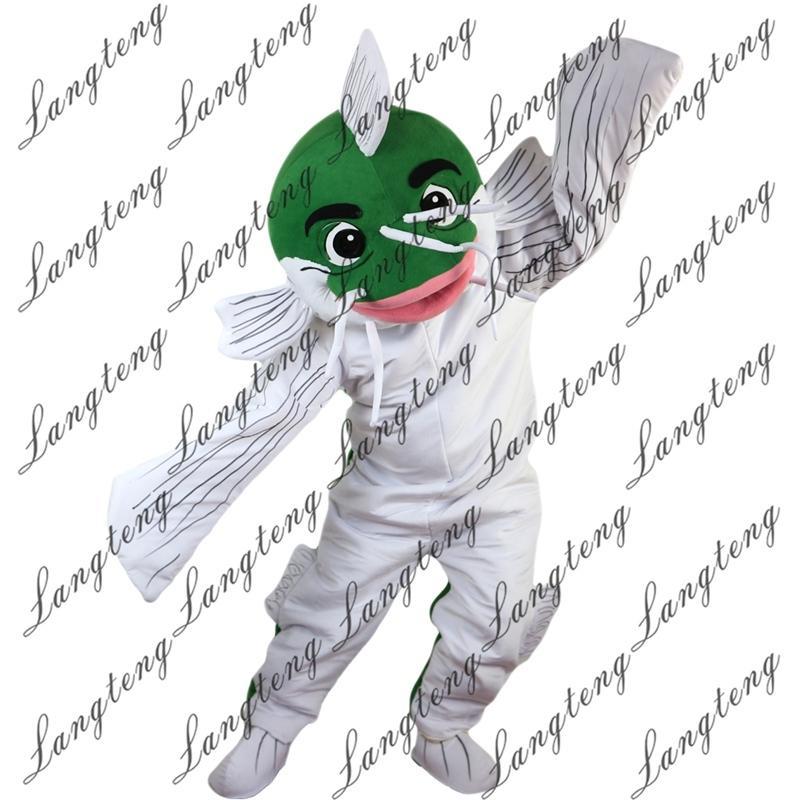 2019 nuovi costumi di alta qualità Green Fish mascotte per adulti circo di Natale di Halloween Outfit vestito operato vestito di trasporto