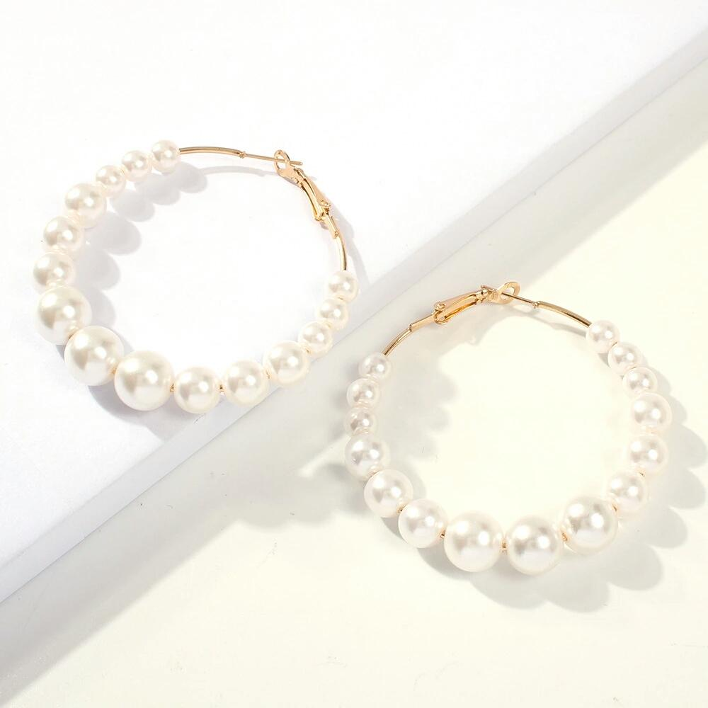 Atacado-brincos de argola pérolas de ouro para dangle brincos de pérola mulheres luxo menina aros de ouvido de moda acessórios jóias frete grátis presente