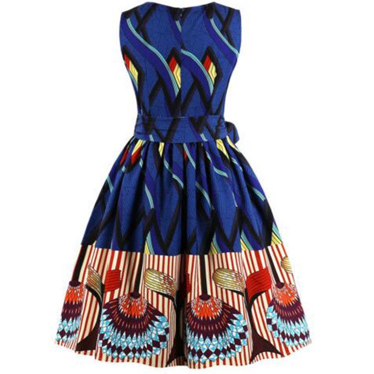 Fashion-2019 spring summer Retro-printed sleeveless pendant dress