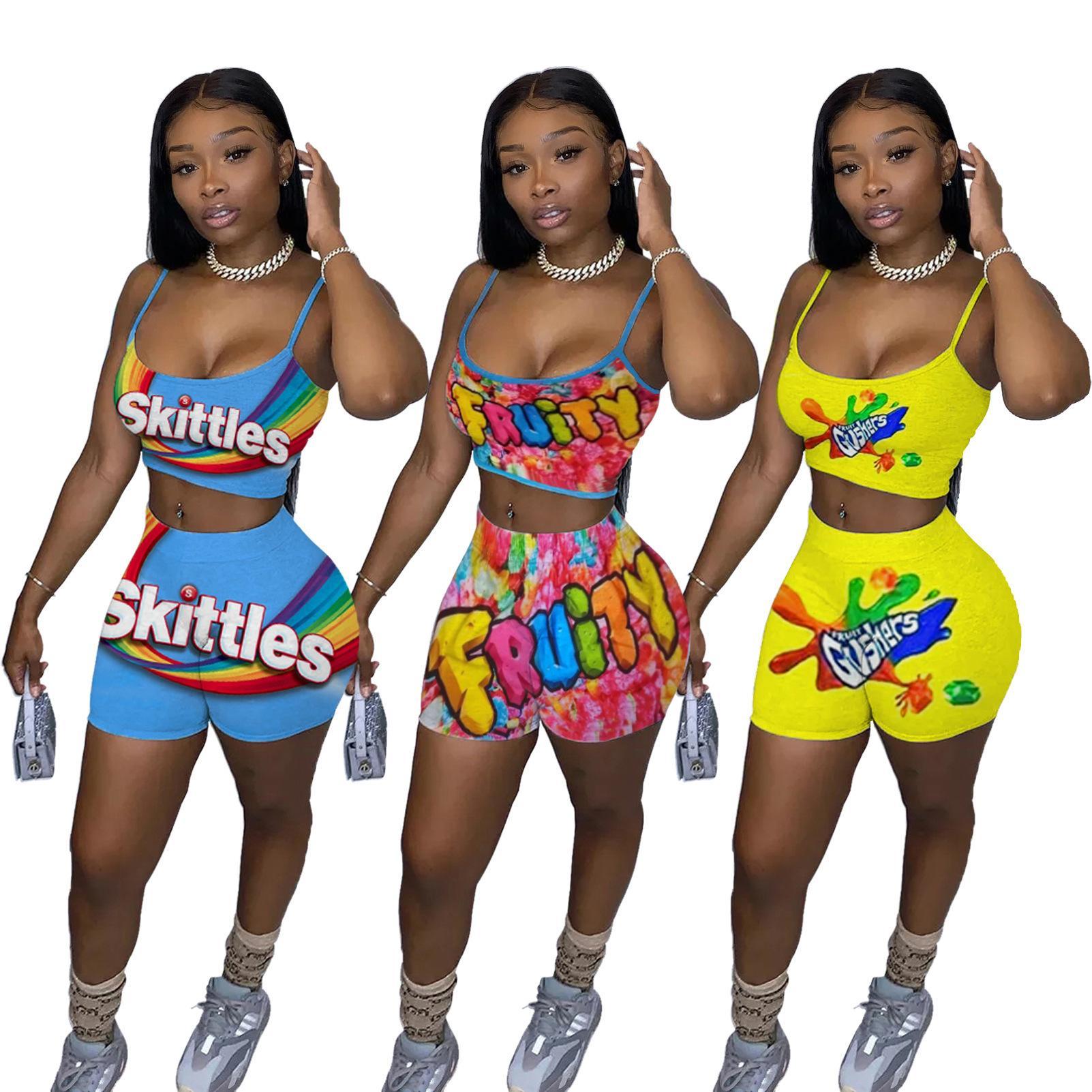 Летние женщины двух частей наряда мода дизайнер женские повседневные напечатанные трексуиты камизол топ шорты две части STORSTUITS PLUS размер LY103