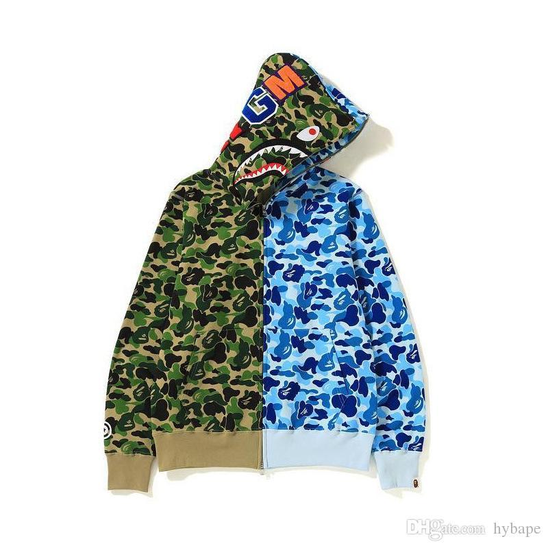 가을 겨울 새로운 연인 블루 그린 카모 바느질 카디건 지퍼 후드 남성의 성격 패션 힙합 후드 무료 배송