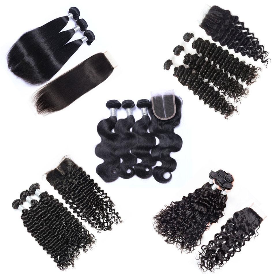 Перуанские девственницы плетения волос 3 пакета с кружевным закрытием необработанные реми человеческие волосы волосы волна тела прямой свободный глубокий кудрявый натуральный цвет может красивить