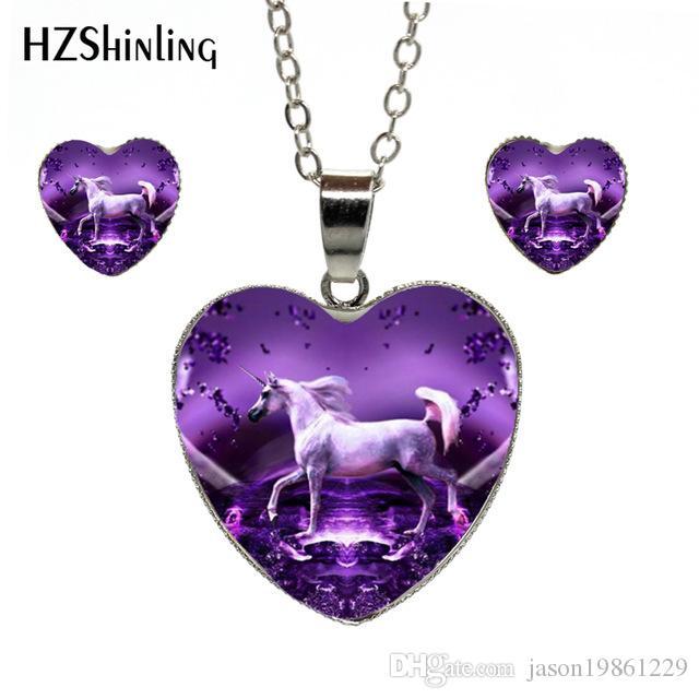New Arrival Unicorn Art Photo Pendant Heart Necklace Fairy Tale Pendant Fantasy Heart Earrings Lovely Unicorn Heart jewelry Set