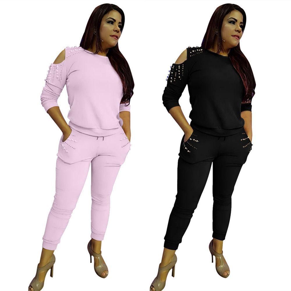 Kadınlar Giyim İki Parça Setler 2 adet kadın giyim sıcak modelleri inci dekoratif set off-omuz-gündelik iki parça bir takım