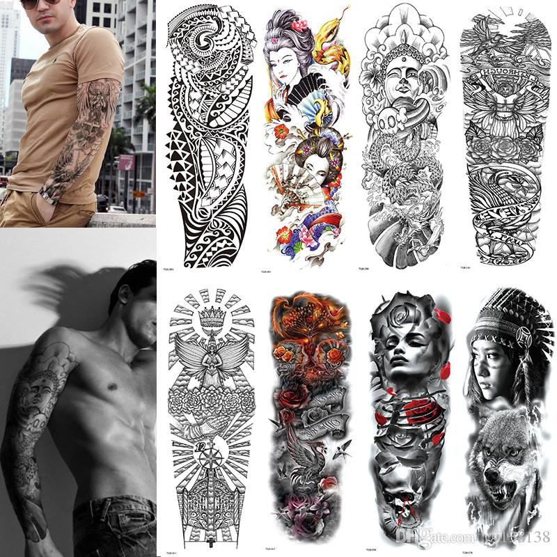 Grand bras tatoué croquis de tatouage Lion tigre imperméable autocollant de tatouage temporaire sauvage féroce animal hommes hommes plein oiseau totem tatouage