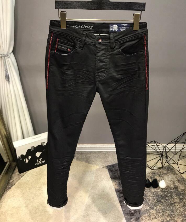 Горячий Новый стиль Дизель известный бренд мужские промытые дизайнерские джинсы плед тонкий летний легкий вес стрейч деним узкие джинсы размер 6507