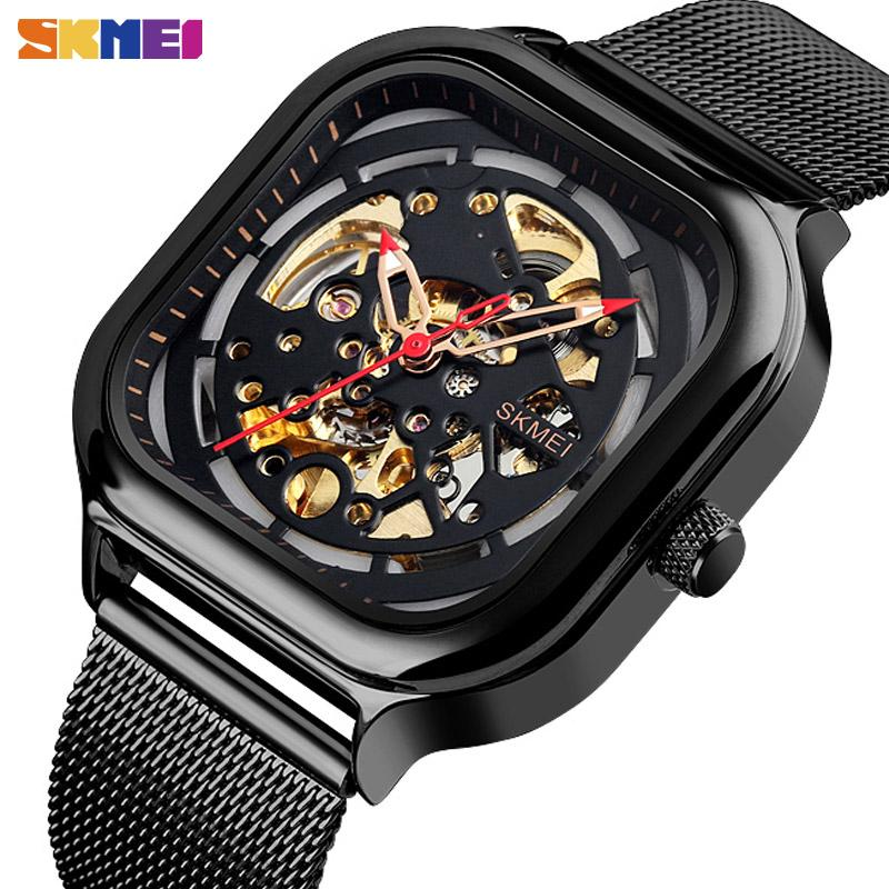 SKMEI 9184 moda Relógio Mecânico Homens Automatic relógio de quartzo impermeável oco Art Strainless Aço Strap montre homme