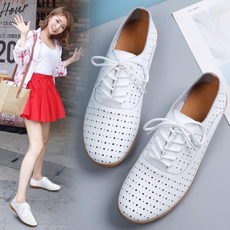 Corea del estilo nuevo estilo del verano ahueca hacia fuera negro zapatos de mujer de cuero genuino con cordones respirable Versátil Zapatos de mujer casual F