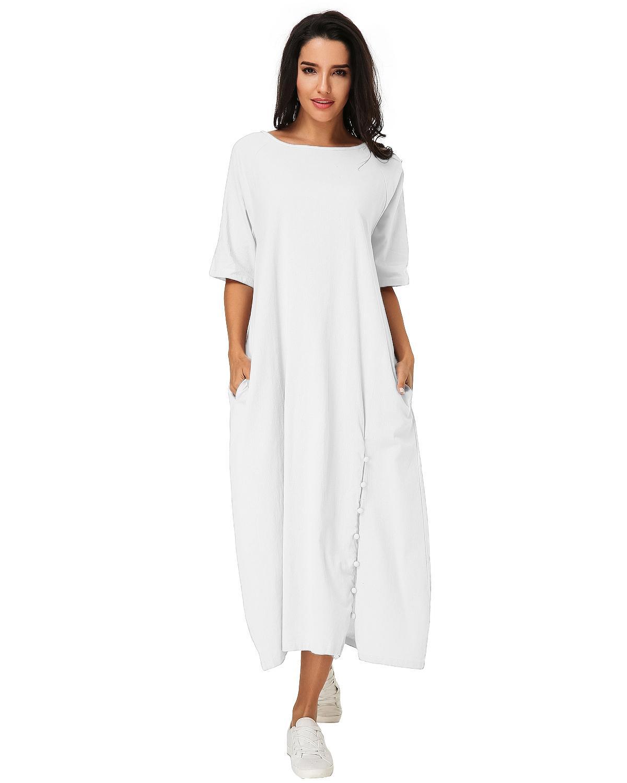 Vestido Mid -calf Vintage Mulheres 2019 Verão Casual Lote O Aproximação Metade-sola Sólidos Vestido Elegante Senhoras Sacos de Roupas Em Linha Y19070901