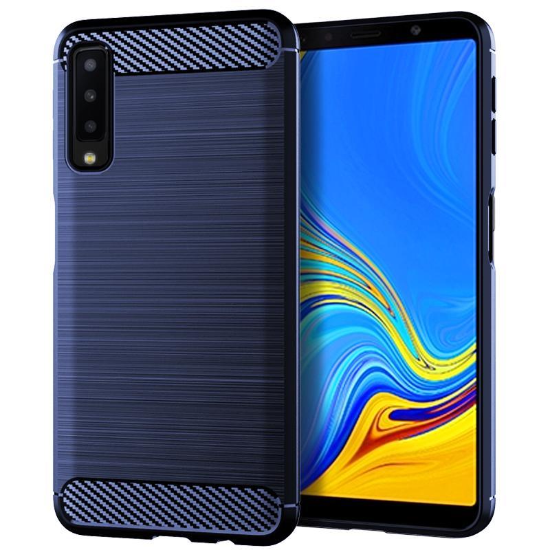 Fibra de Carbono robusto de Proteção Integral Corpo Capa Para Samsung A7 2018 Slim e flexível à prova de choque TPU borracha anti-derrapante caso