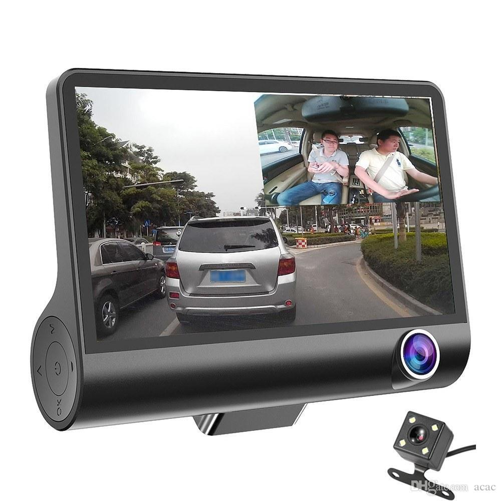 3 كاميرات سيارة DVR 4 بوصة IPS داش كام ثلاثية عالية السرعة عالية الدقة عالية الدقة 1080P القيادة dvrs عدسة مزدوجة مسجل خاص للسفر