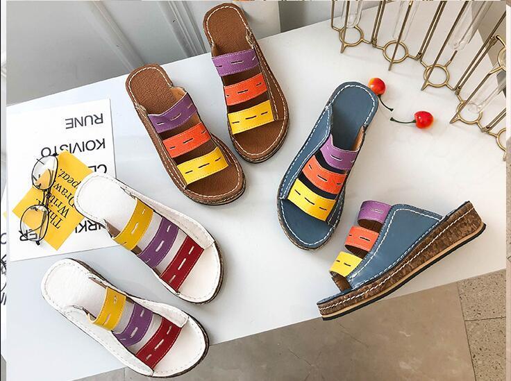 En çok satan Avrupa ve Amerikan balık ağzı kadın sandalet ve terlik renk eşleştirme vahşi tasarım