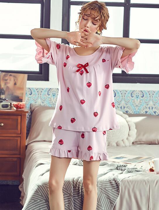 Ruban Bow dentelle plissée à volants Taille Plus 4XL Strawberry Imprimer doux coréenne Accueil sommeil coton 2 pièces courtes T-shirt Top Pyjama