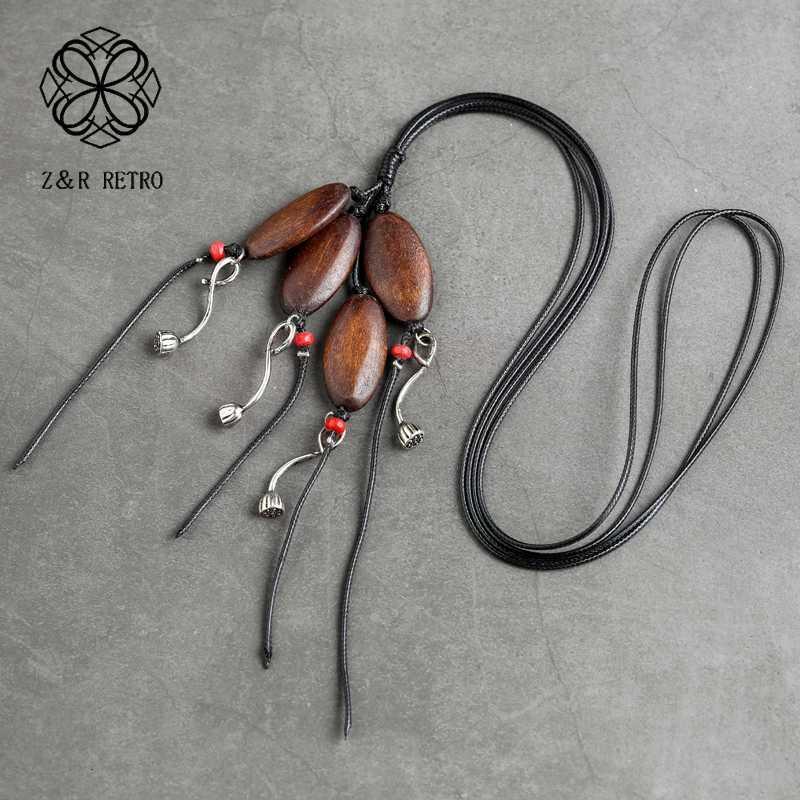 Cuentas de madera de Lotus colgante collar de la mujer de la vendimia de suspensión joyería colgantes collares colgantes de cuello Gargantillas 2020