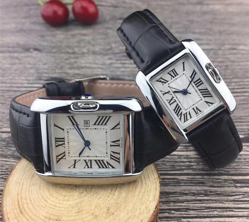 Famoso Designer Man Donne Orologio Marca Guarda cinturino in pelle Casual Strap New Dress Luxurt Quartz Watch Square Relojes de Marca Orologio da polso