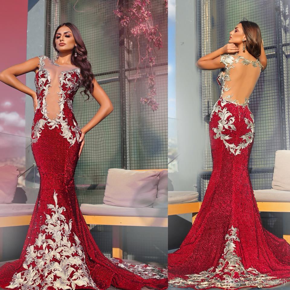 섹시한 붉은 인어 이브닝 드레스 레이스 Applique 백 레이스 파티 가운 플러스 사이즈 공식 파티 드레스 사용자 정의 섹시한 가운