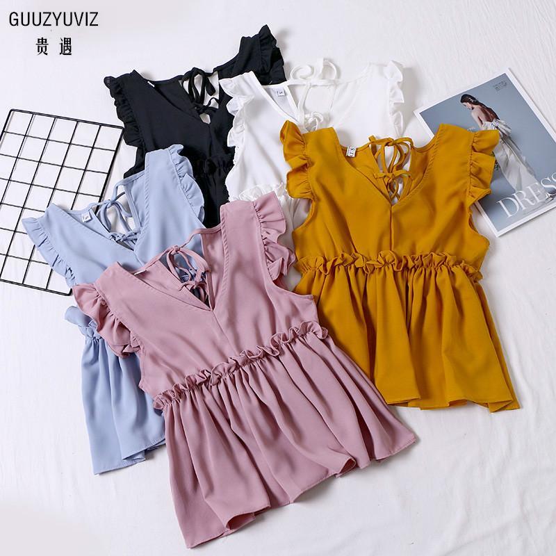 GUUZYUVIZ sólido Tops Mujer Verano 2019 Casual volantes cuello en V vendaje sin mangas Tank Top mujeres blanco Camiseta Tirantes Mujer Y200422