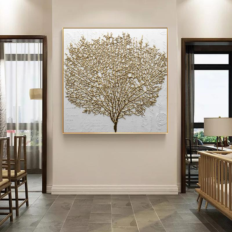 Home Decorative Nordic Style Poster Prints Wall Art Canvas Painting Abstract Golden Tree Modular Pictures Modern for Living Room