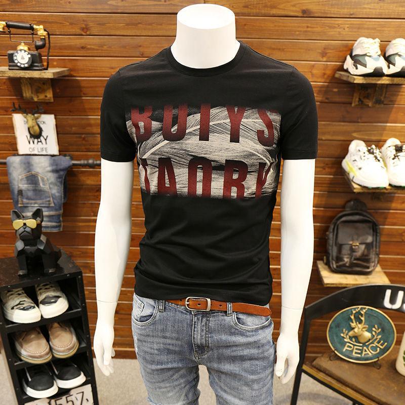 2020 Moda Erkek Tişörtleri Casual Erkek Nefes İnce Gömlek Yeni Stil Erkek Harf Baskı Mürettebat Boyun Tişörtlü Asya Boyut M-5XL