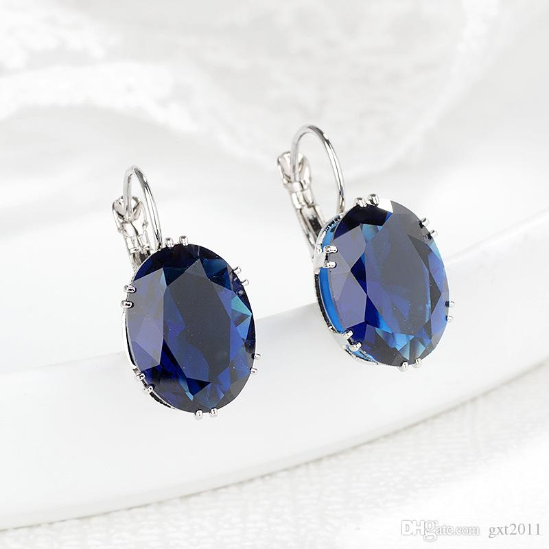 Wholesale---Beautiful and nice colorful gem earrings and a pair of Earrings ,5 color, ladies and girls best love earring