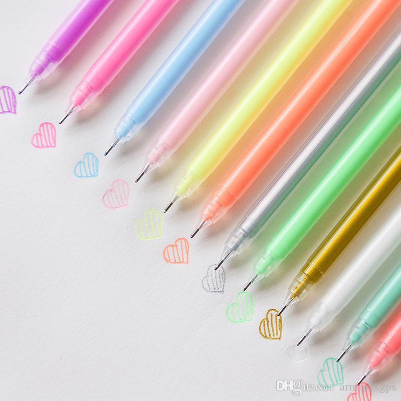 12 colori / set Carino Glitter Pen 0,6 millimetri gel penna di grande capacità Flash Graffiti Penne per Marker Scrivere Disegnare ufficio di banco J200295