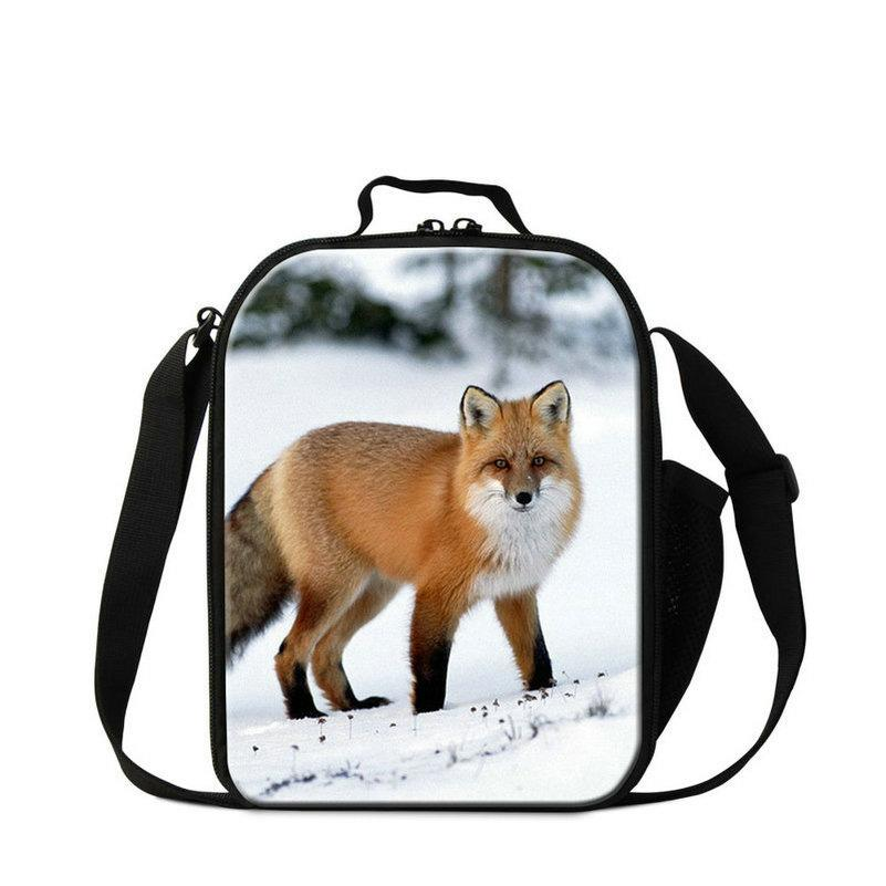 Designer-Insulated Fox Print Lunch Bags Totes With Water Bottle Holder For Preschool Kids Boys Teens Girls Picnic Food Carry Tote With Strap