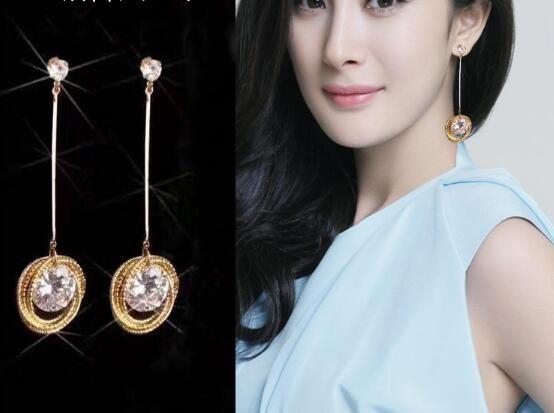 New hot Trendy earpieces temperamento coreano zircão brinco studs moda versátil empilhados brincos círculo elegante requint clássico eleganc