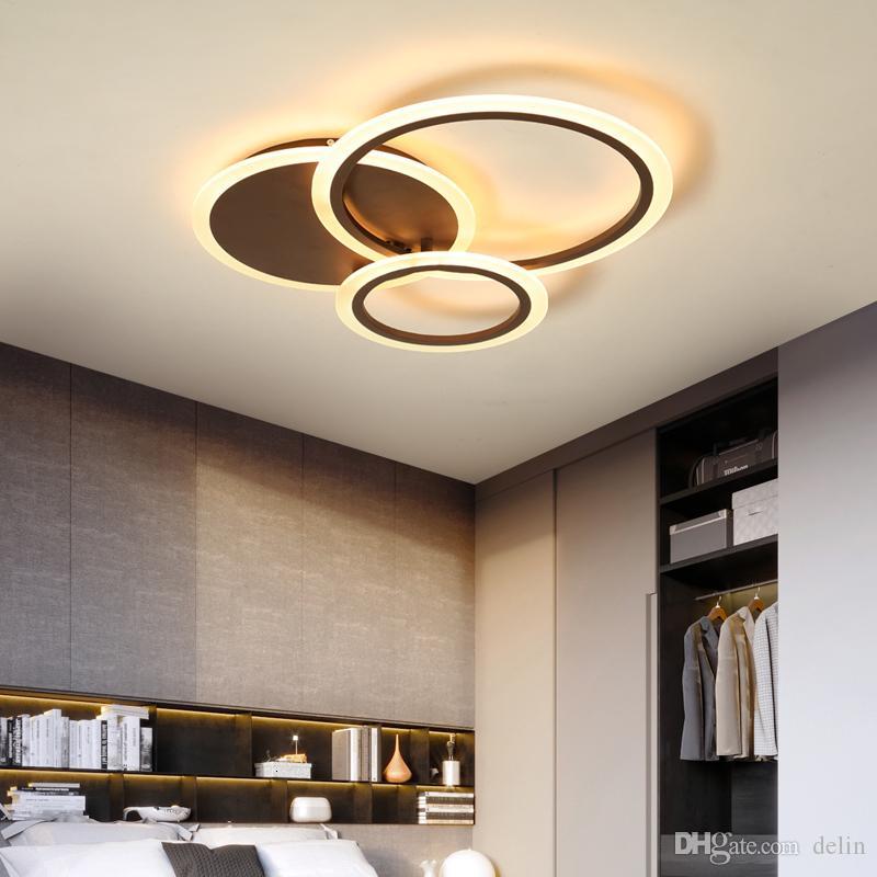 / Marrone moderna illuminazione Led bianco lampadario per camera da letto soggiorno metallo + acrilico lustro luminaria lampadario chandelier