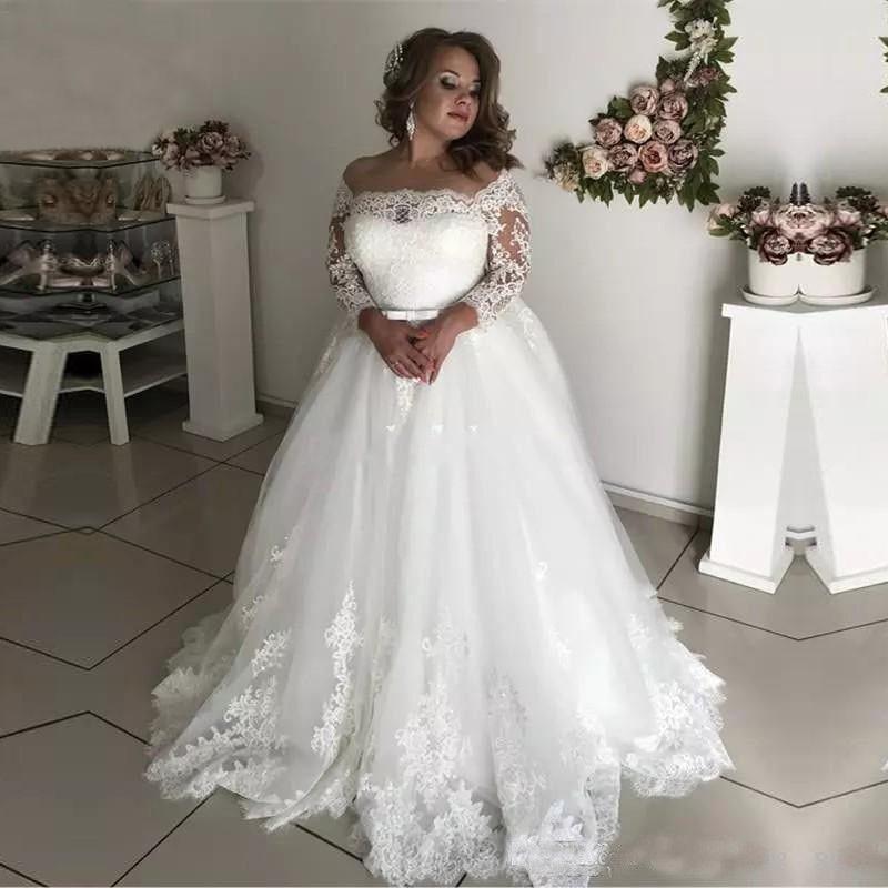 2020 Şık 3/4 Kollu Dantel Tül A-Line Artı boyutu Gelinlik mürettebat Backless Gelin Kıyafeti Ünlü vestido De Noiva elbise de mariee
